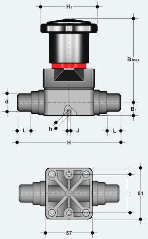 Компактный мембранный клапан ПВХ с втулочным окончанием (CMDV)