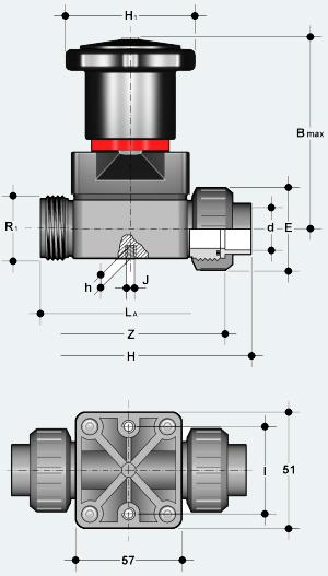 Компактный мембранный клапан с разборным муфтовым окончанием (CMUIV)