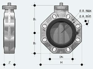 Дисковый затвор ПВХ баттерфляй промышленного применения с фланцем для монтажа привода (FKOV/FM)