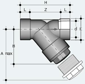 Сетчатый фильтр ПВХ с муфтовым окончанием, под клеевое соединение (RVIV - RVIT)