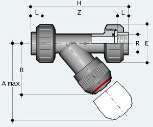 Обратный клапан ПВХ с внутренней резьбой, разъёмное соединение (VRUFV)