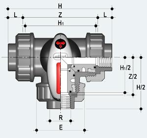 Трёхходовой шаровый кран с внутренней окончанием (TKDFV)