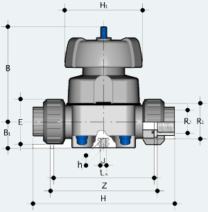 Мембранный клапан с внутренней резьбой