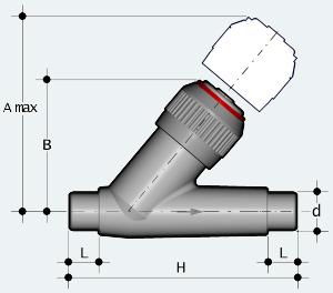 Обратный клапан ПВХ с втулочным окончанием (VRDV)