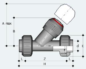 Обратный клапан ПВХ с разъёмным муфтовым окончанием (VRUIV)