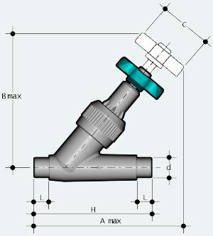 Угловой вентиль ПВХ с втулочным окончанием, под клеевое соединение (VVDV)