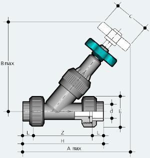 Угловой вентиль ПВХ с разъёмным муфтовым окончанием, под клеевое соединение (VVUIV)