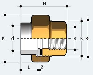 Муфта разборная ПВХ - латунь с внутренней резьбой (BIFVO)
