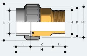 Разборная муфта ПВХ с наружней резьбой (BIRV)