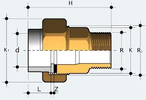 Муфта разборная ПВХ - латунь с наружней резьбой (BIRVO)