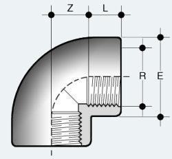 Угольник ПВХ 90 градусов с внутренней резьбой с обеих сторон (GFV)