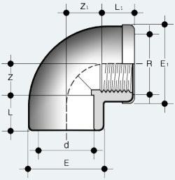 Переходной угольник ПВХ 90 градусов с внутренней резьбой с усиливающим металлическим кольцом (GIMV)