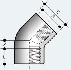 Угольник ПВХ 45 градусов с внутренней резьбой с обеих сторон (HFV)
