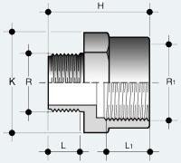Переходник ПВХ внутренняя резьба - наружняя резьба (IFFV)