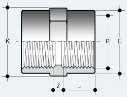 Муфта ПВХ с внутренней резьбой с обеих сторон (MFV)