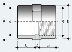 Переходная муфта ПВХ с внутренней резьбой (MIFV)