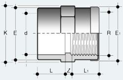 Переходная муфта ПВХ с внутренней резьбой с усиливающим металлическим кольцом (MIMV)