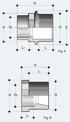 Переходник ПВХ наружняя резьба - внутренняя резьба (RFV)