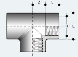 Тройник ПВХ с внутренней резьбой со всех сторон (TFV)