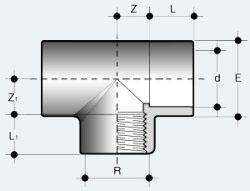 Переходной тройник ПВХ с внутренней резьбой (TIFV)
