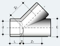 Тройник ПВХ 45 градусов (YIV)